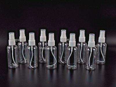 NEW! 10 Clear Plastic 2 OZ PET Empty Spray Bottles Refill Mist Pump Travel Reuse 2 Ounce Travel Bottle