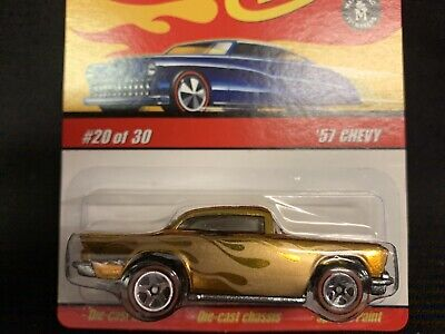 HOT WHEELS CLASSICS '57 CHEVY GOLD W/FLAMES SERIES 3 #20 OF 30 BRAND NEW