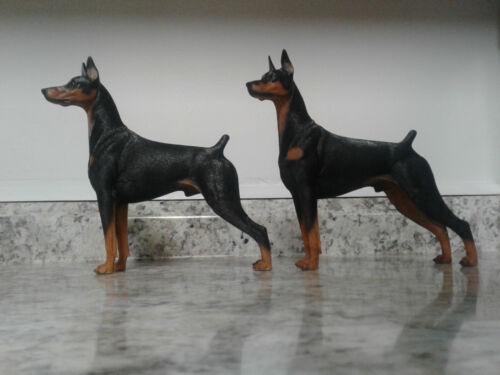 Set of 2 - Doberman Pinscher Statue Dobermann Dog Pet Model M7 Painted Resin