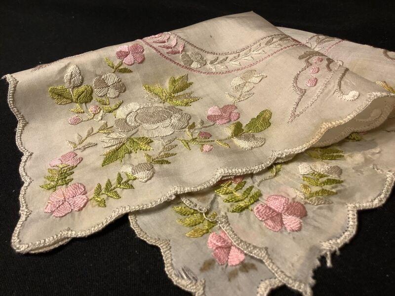 #6973🌟Antique c1800s CUTTER Silk Byzentine HEAVYEmbroidery Wedding Handkerchief