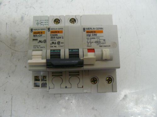 Merlin Gerin cat no. 26974 MX+OF, 17447 C60N 30A, 26547vigi C60 circuit breakers