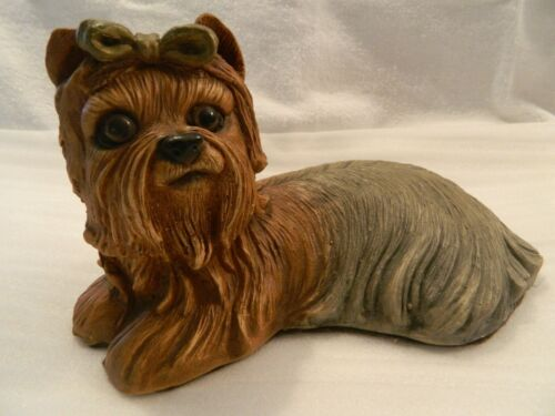 Yorkshire Terrier Yorkie Dog Laying Down Brown Bow Hand Painted