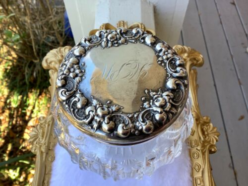Antique Victorian Sterling Silver Repousse Lid Crystal Dresser Vanity Jar Box