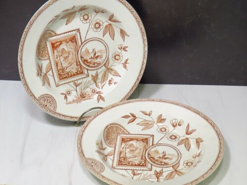 2 Antique Staffordshire Brown Transferware Rimmed Soup Bowls PERAK Aesthetic Mvt