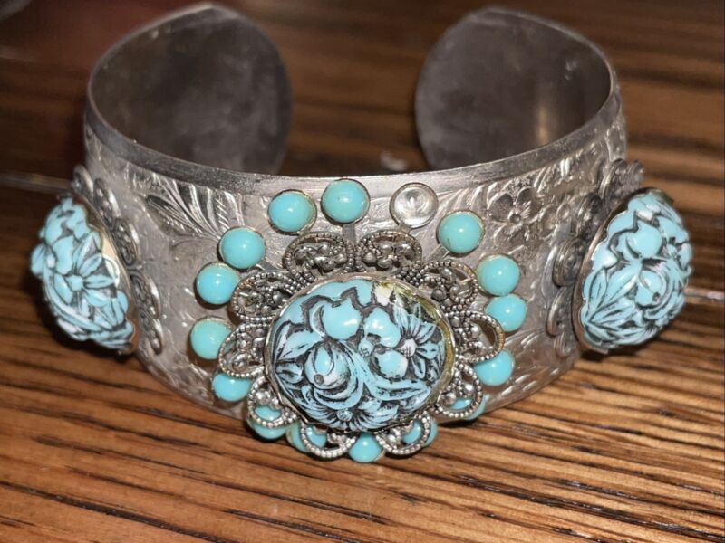 Vintage Southwestern Navajo Silver Tone Turquoise Filigree Cuff Bracelet