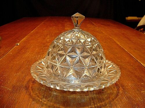 Antique Signed Imperial Glass Covered Butter Dish in Mt Vernon #699 Pattern