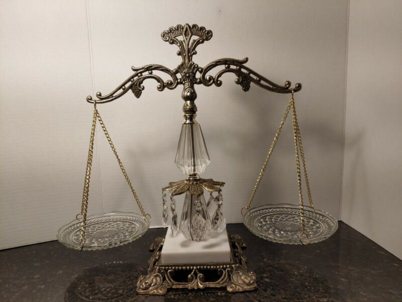 Vintage Brass Glass Crystal Balance of Justice Scales  Lawyer decoration