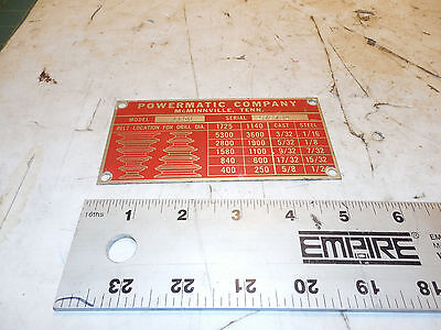 Powermatic Drill Press 1150 Speed Chart Badge 1150 Drill Press
