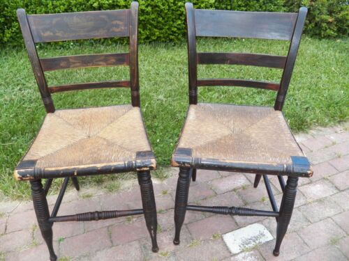 Pair ANTIQUE Early Hitchcock Style Sheraton CHAIRS original seats