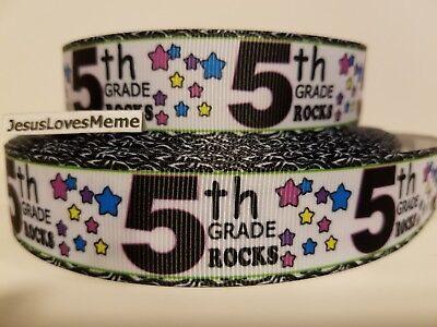Grosgrain Ribbon 5th Grade Rocks School Teacher Class Stars Pupils Students 1