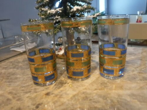 VINTAGE CULVER BAR GLASSES BLUE GREEN GOLD