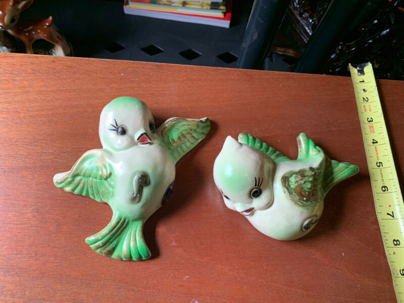 2 Vintage Bird Wall Plaques Norcrest Lefton 3D Porcelain ceramic RARE Green