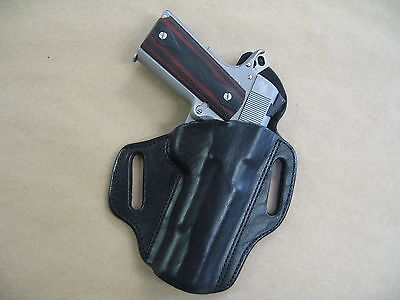 "S&W Smith & Wesson 1911 5"" OWB Leather 2 Slot Molded Pancake Belt Holster BLACK"