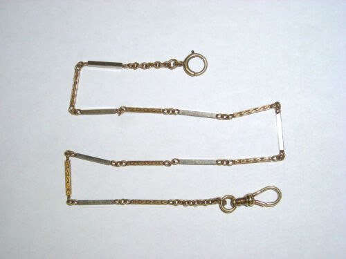 Vintage Victorian 14K Yellow & White Etched  Gold Mens Watch Chain  Nice
