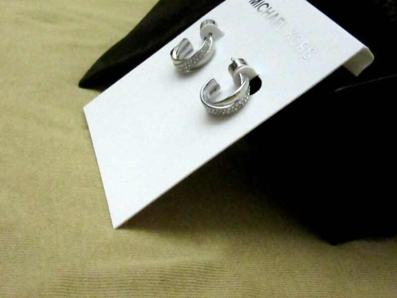 NWT Michael Kors Earrings Silver Criss Cross Pave Small Hoops Gift Box Pouch NEW