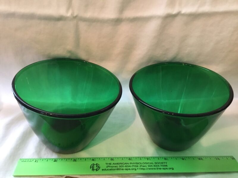 """TWO Vintage Anchor Hocking Depression Anchorglass 4"""" Tall Forest Green Bowls"""
