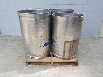 Used Open Top Stainless Steel Drums 4 Pack Lot Number 4