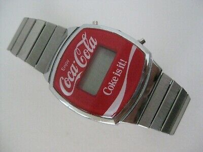 Coca-Cola Red Watch Wristwatch Coke Mens Stainless S. Digital Soda Pop Vintage