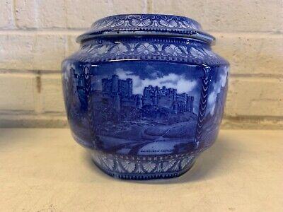 Ant English Malingware Porcelain Blue & White Hexagonal Biscuit Jar Castle Dec