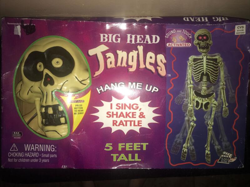 Vintage 5' Big Head Jangles 2004 Skeleton Halloween Prop Shakes Lights Up Sings