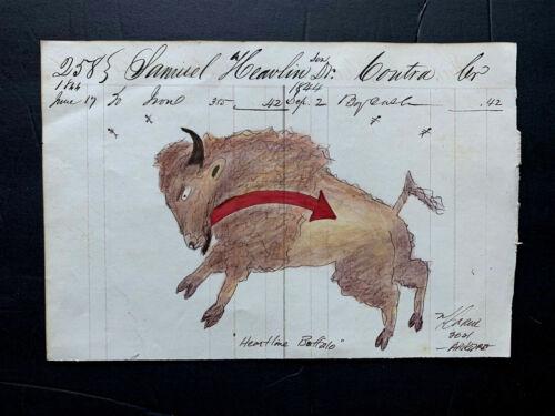 Native American Indian Artist  Ledger Art on Antique 1844 ledger page