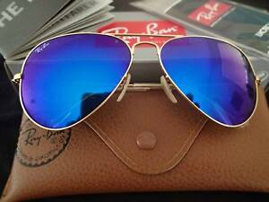 d7921bceee NEW RAY BAN AVIATOR Size 62 GOLD FRAME BLUE MIRROR SUNGLASSES