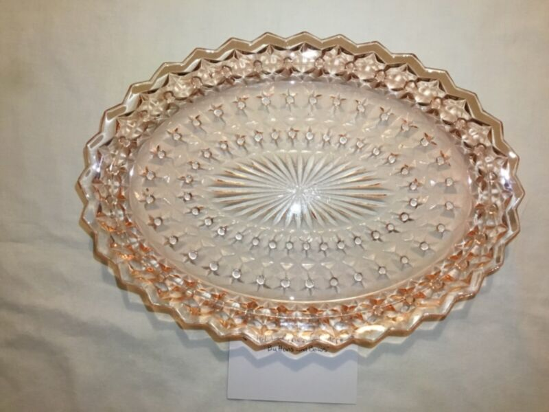 Vintage Pink Glass Jeanette Co. Oval Serving Tray Platter Buttons & Bows Holiday