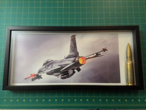 USAF F-16 Falcon Lithograph with Inert 20mm Air Force Retired Military Veteran