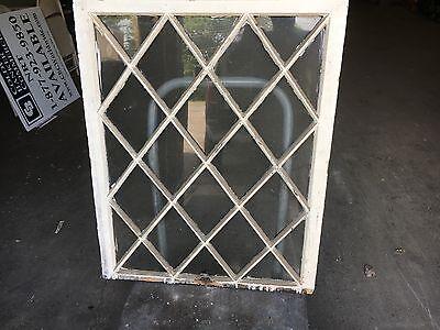 "antique c1900 MISSION style TUDOR diamond pane WINDOW door frame 36"" x 29 x 1.25"