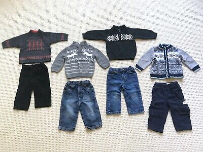 Lot 8 toddler boy Christmas sweaters pants Polo Janie & Jack Gap Carter's 12-18m Christmas Sweaters Toddlers