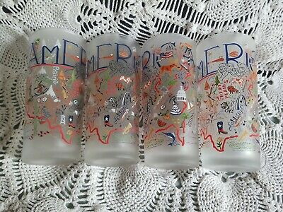 4 Catstudio America 15 Oz Frosted Tumbler Beverage Glasses mint condition!