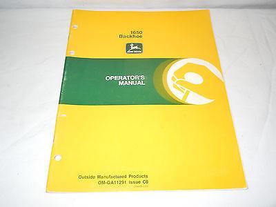 John Deere 1650 Backhoe Operators Manual Original Condition