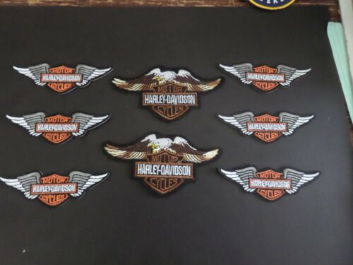 "LOT OF 8 HARLEY-DAVIDSON MOTORCYCLE"" EMROIDERED IRON ON PATCHES W/ TRACKING"