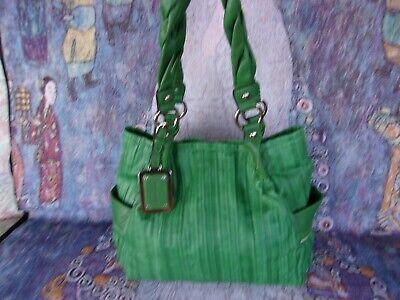 B.Makowsky Soft Gaufre Green Leather shoulder handbag Tote