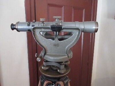 1957 Keuffel Esser Optical Transit Level Scope Serial 115039. Wwood Tripod.