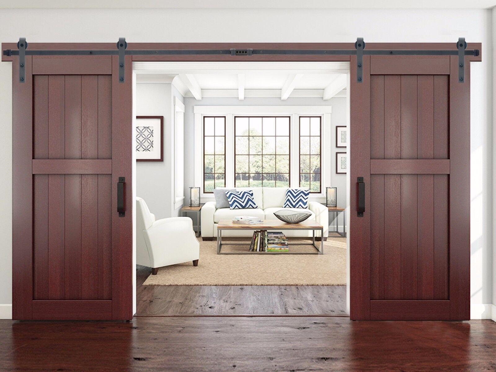 12 Ft Black Modern European Style Barn Wooden Double Sliding Door Hardware Set 691163034010 Ebay