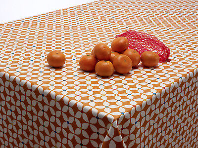 Burnt Orange Scandic Marguerite Oilcloth Wipe Clean Tablecloth Round Rectangle
