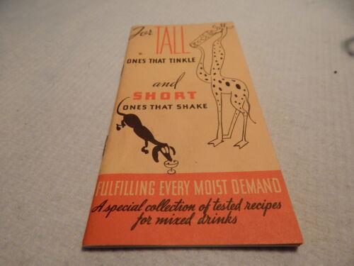 VTG 1935 COCKTAIL BOOK BOOKLET TALL SHORT BARTENDER BARWARE UNITED DISTILLERS