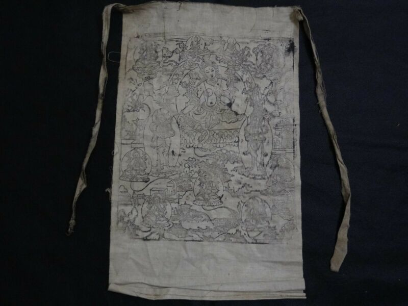 ANTIQUE  MONGOLIAN BUDDHIST WOODBLOCK PRINT of GREEN TARA ON COTTON