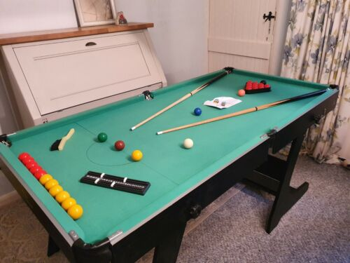 Hy-Pro 6ft standing folding snooker and pool table with cues, balls etc (SG11)