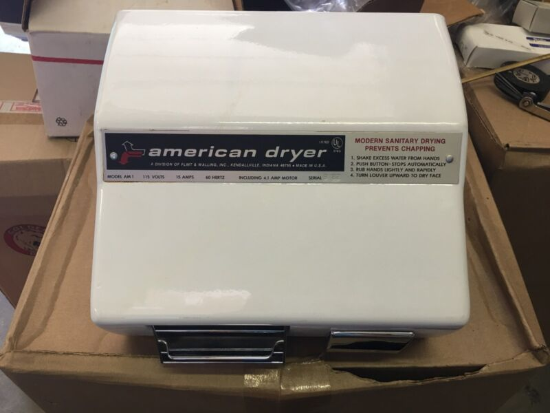 American Dryer AM1 Hand Dryer, White, NOS.