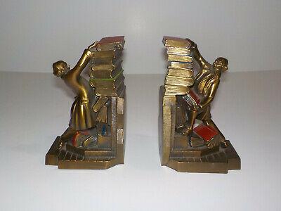 Vintage K & O Co StrugglingLibrarian Metal Art Deco Bronze Brass Bookends