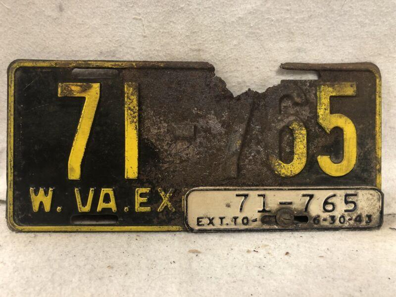 Vintage 1943 West Virginia License Plate