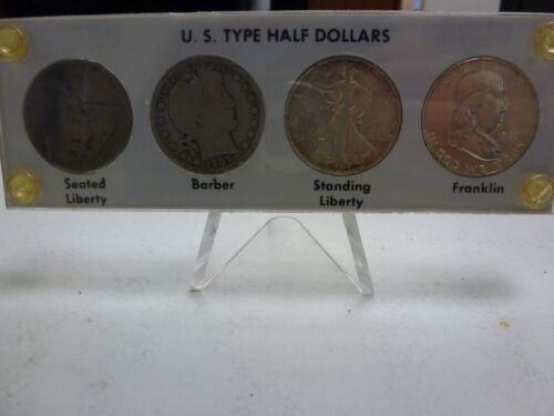 Collection of (4) United States US Type Silver Half Dollars in Capital Holder