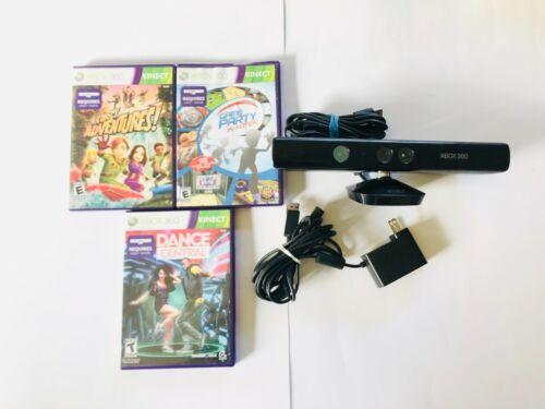 Microsoft Xbox 360 Kinect Sensor Bar With POWER Adapter & GAMES