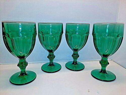 (4) Libbey  Duratuff  Green Water Goblets