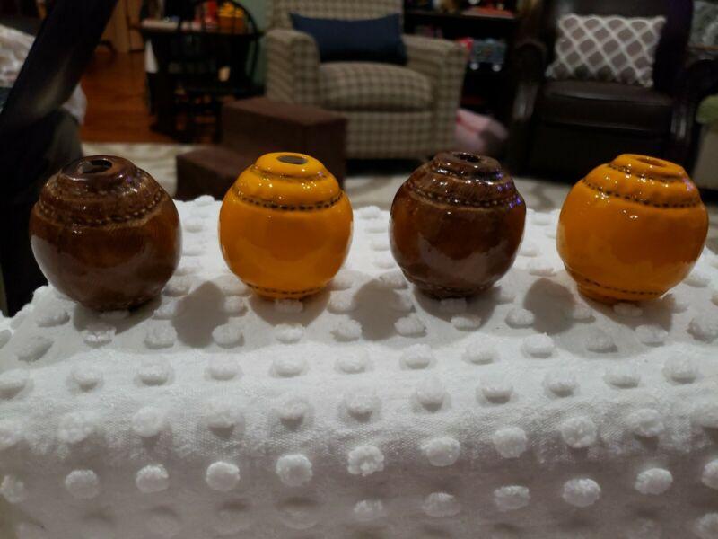 Vintage Ceramic Brown Orange Macrame Beads Lot of 4 NOS