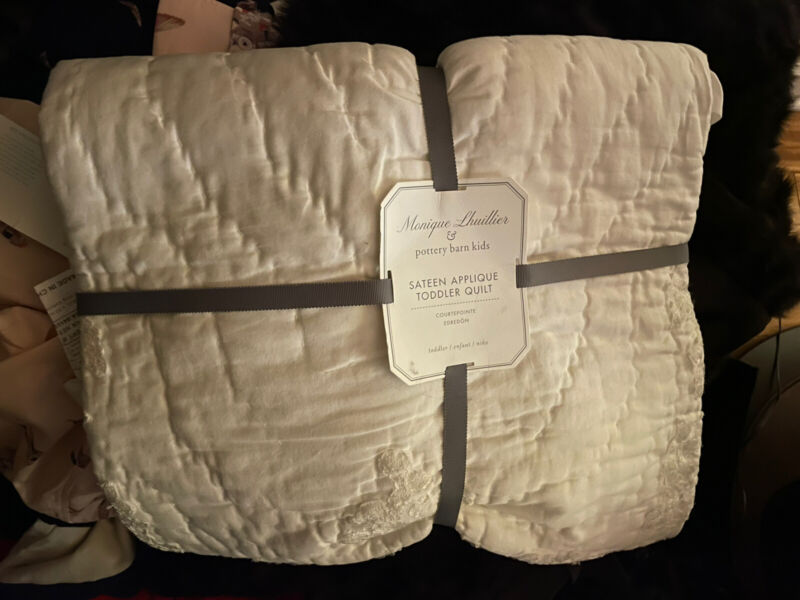 Monique Lhuillier Pottery Barn Kids Sateen Applique Toddler Quilt Hand Quilted