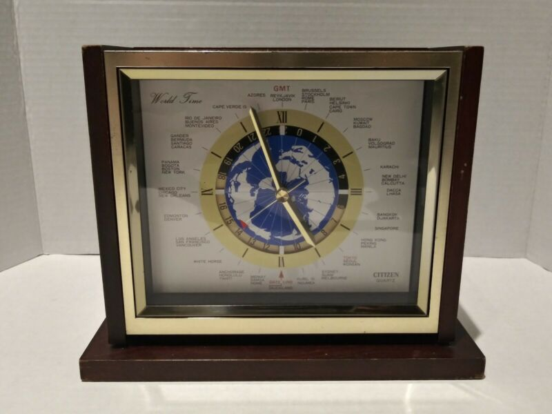 Vintage Citizen Quartz World Time Mantle Clock #8RW301