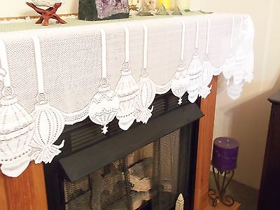 New Ivory Lace Christmas Ornament Design Mantel Scarf